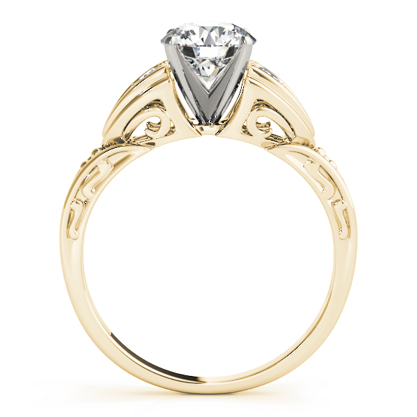 Art Deco Diamond Engagement Ring with Filigree & Engraving in Yellow Gold