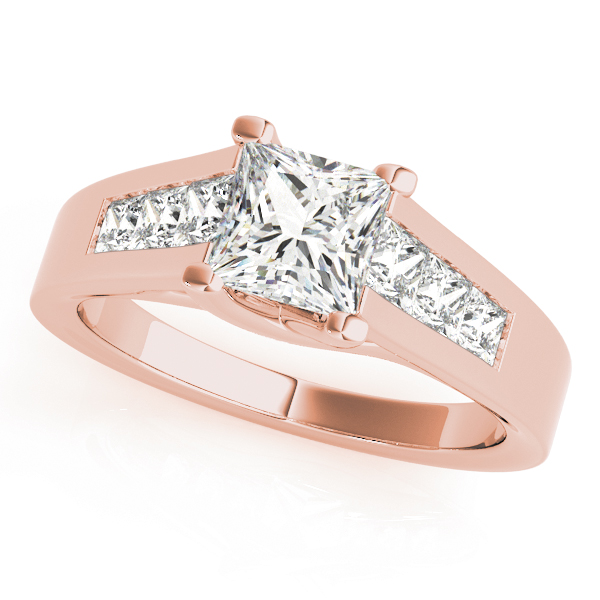 Trellis Princess Diamond Engagement Ring in Rose Gold