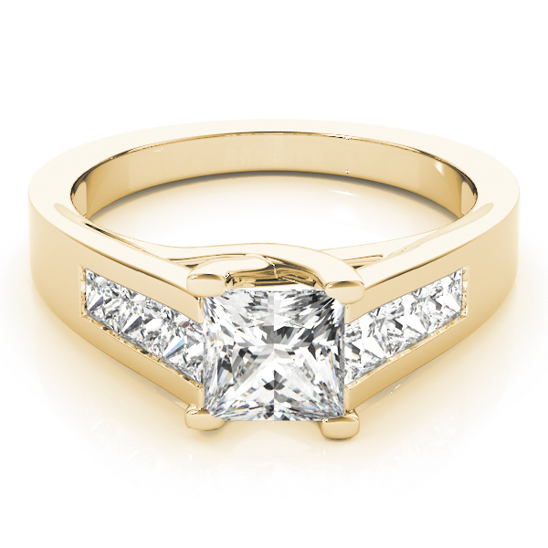 Trellis Princess Diamond Engagement Ring in Yellow Gold