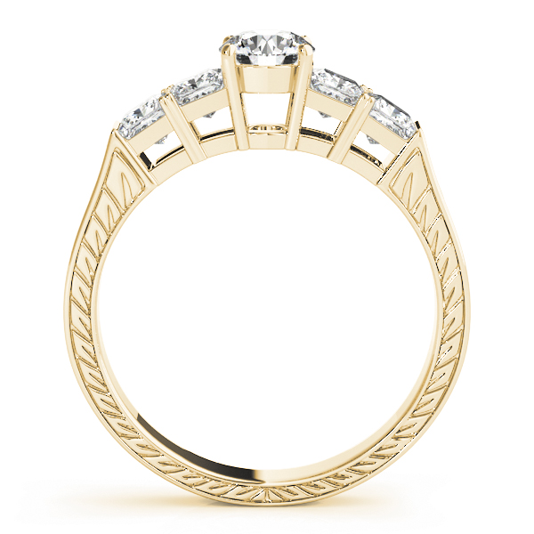 Wheat engraved engagement ring, princess band, Yellow Gold