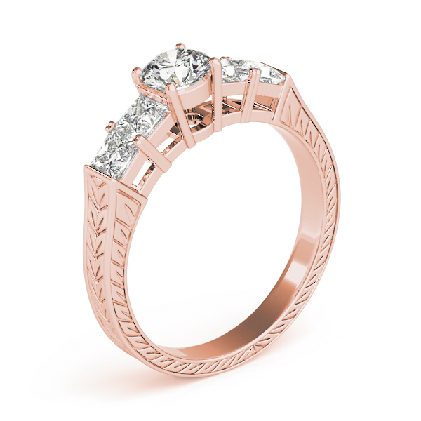 Wheat engraved engagement ring, princess band, Rose Gold