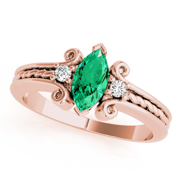 3 Stone Marquise Green Emerald Rope Ring Rose Gold