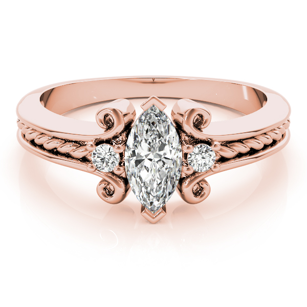 3 Stone Marquise Rope Filigree Diamond Ring Rose Gold