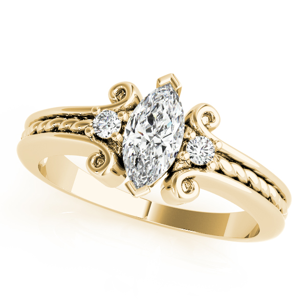 3 Stone Marquise Rope Filigree Diamond Ring Yellow Gold
