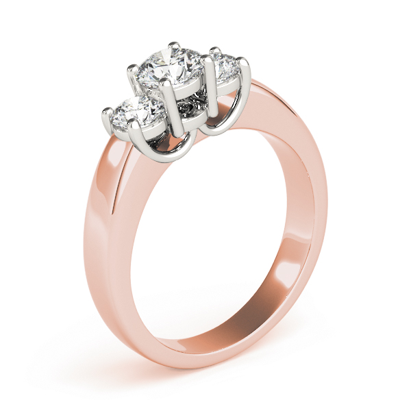 Three Stone Round Diamond Ring in Rose Gold