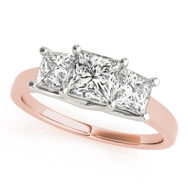 Classic Trellis Three Stone Princess Cut Engagement Anniverary Ring in Rose Gold