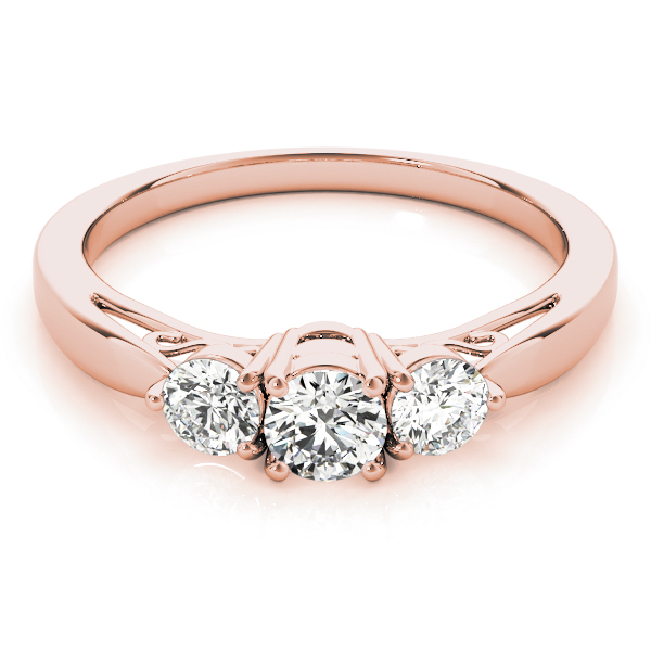 Classic Three Stone Diamond Engagement Ring with Filigree in Rose Gold