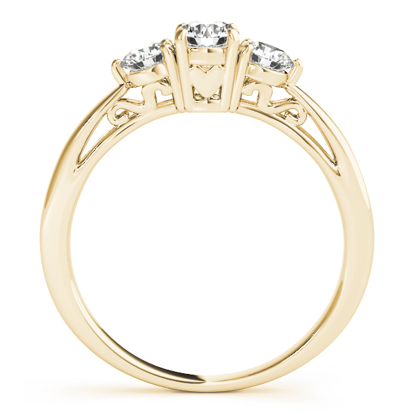 Classic Three Stone Diamond Engagement Ring with Filigree in Yellow Gold
