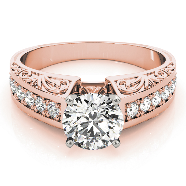 Vintage Diamond & Engraved Band Engagement Ring in Rose Gold