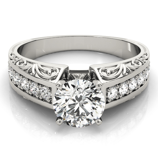 Vintage Diamond & Engraved Band Engagement Ring