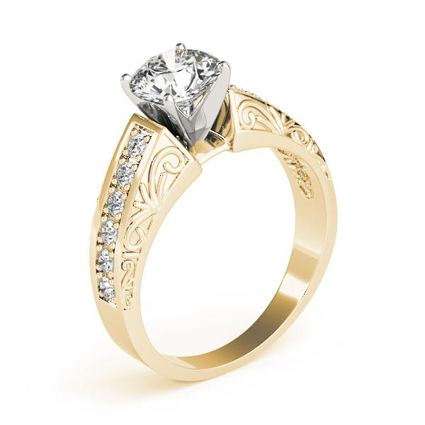 Vintage Diamond & Engraved Band Engagement Ring in Yellow Gold