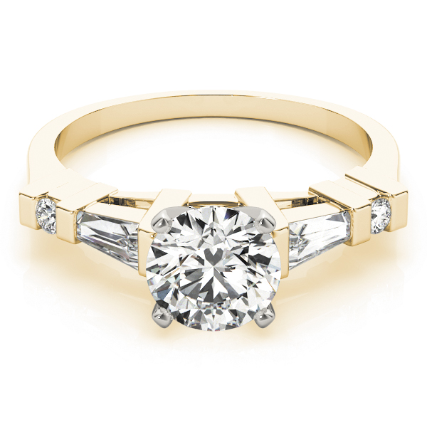 Baguette & Round Diamond Engagement Ring in Yellow Gold