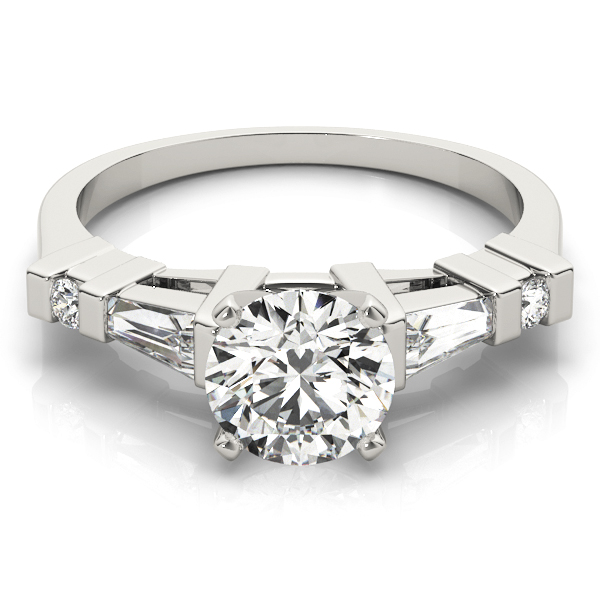 Baguette & Round Diamond Engagement Ring