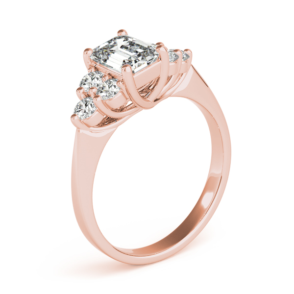 Emerald Cluster Engagement Ring Rose Gold