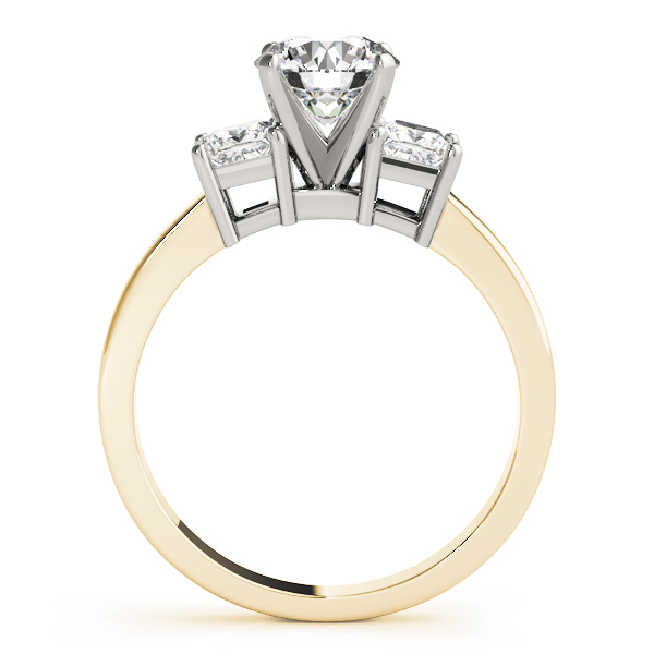 3 Stone Princess Engagement Ring Yellow Gold