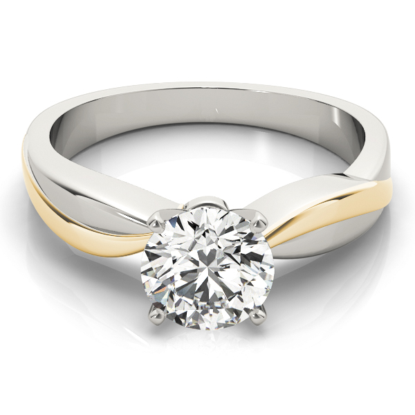 Solitaire Swirl Engraved Engagement Ring in White & Yellow Gold