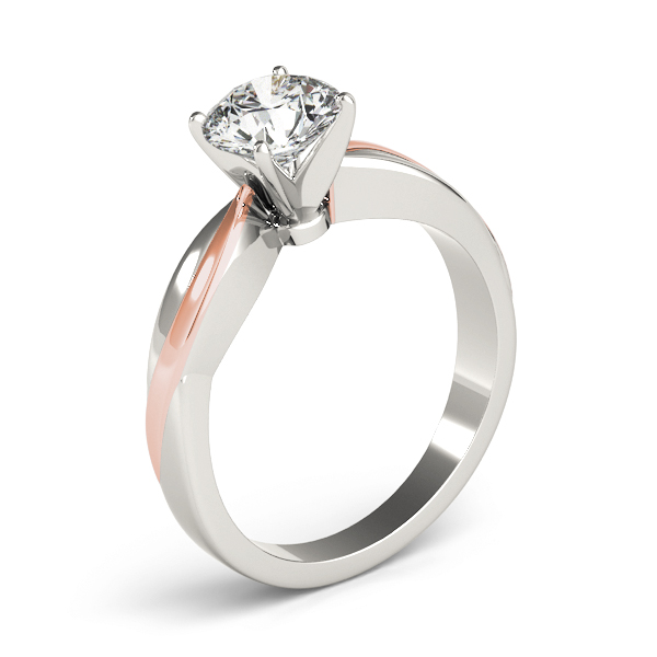 Solitaire Swirl Engraved Engagement Ring in White & Rose Gold