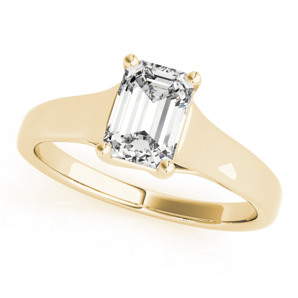 Trellis Emerald Cut Diamond Solitaire Engagement Ring in Yellow Gold
