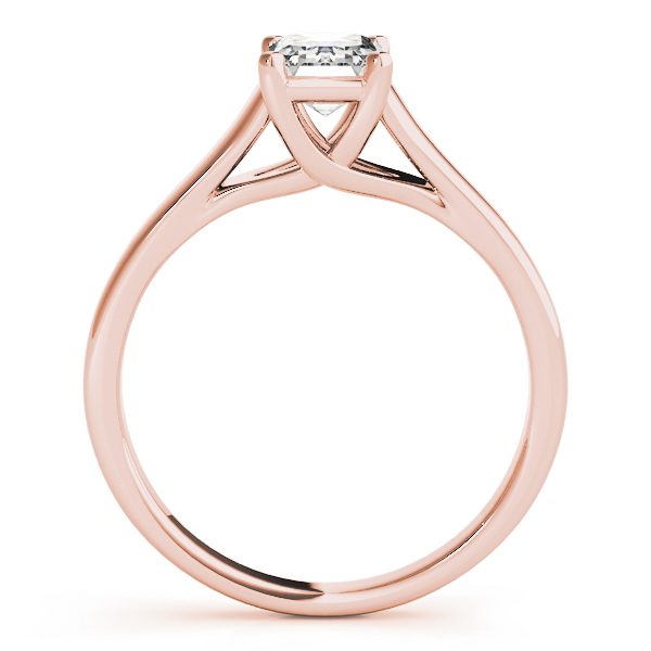 Trellis Emerald Cut Diamond Solitaire Engagement Ring in Rose Gold
