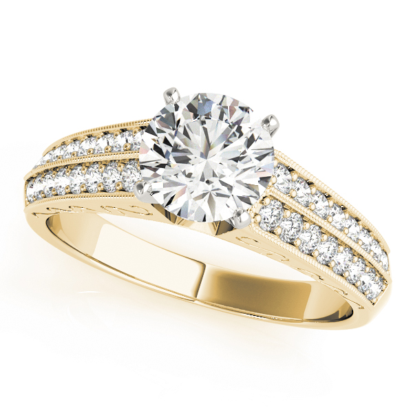Cathedral Engagement Ring with Double Row of Diamonds in Yellow Gold