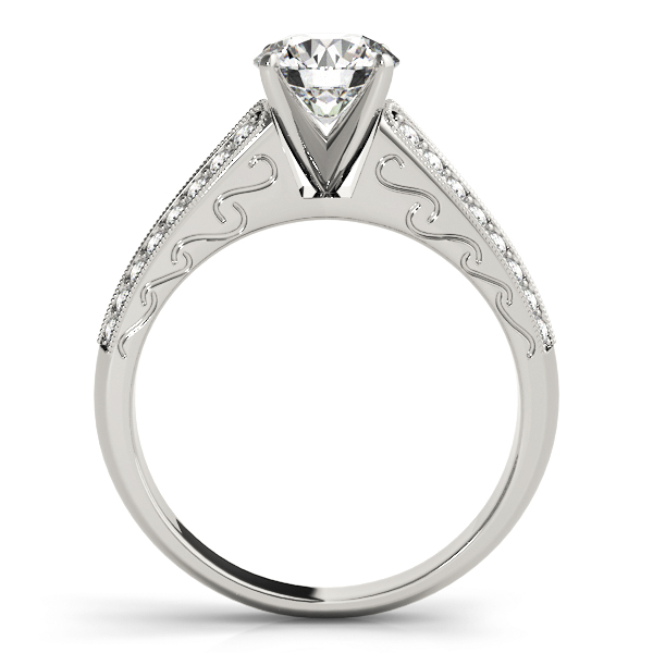 Cathedral Engagement Ring with Double Row of Diamonds