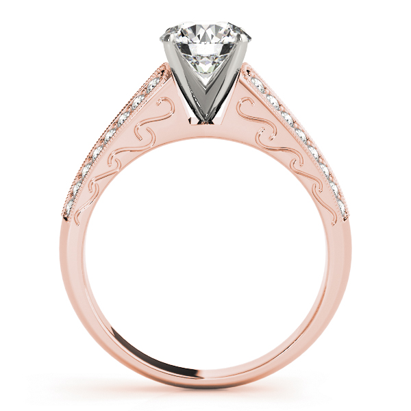 Cathedral Bridal Set with Double Row of Diamonds in Rose Gold