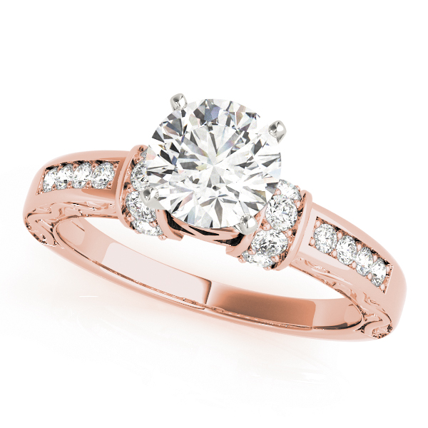 Petite Diamond Bridal Set with Engraved Band in Rose Gold