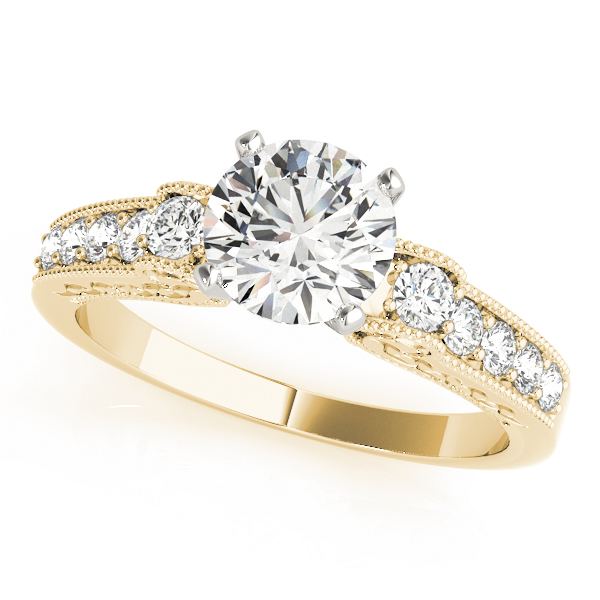 Cathedral Diamond Engagement Ring with Engraving in Yellow Gold