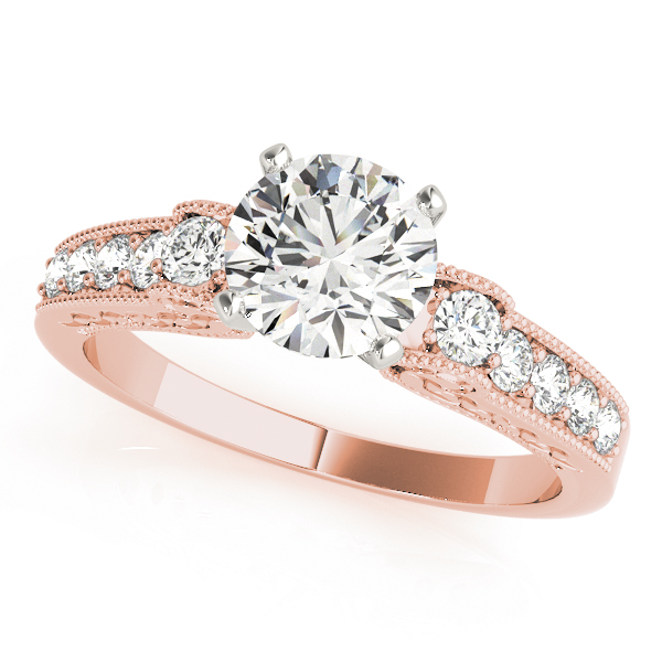 Cathedral Diamond Bridal Set with Engraving in Rose Gold