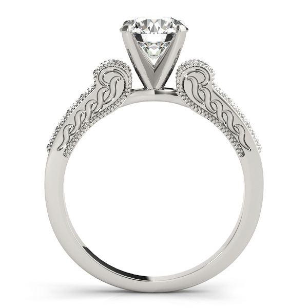 Cathedral Diamond Engagement Ring with Engraving