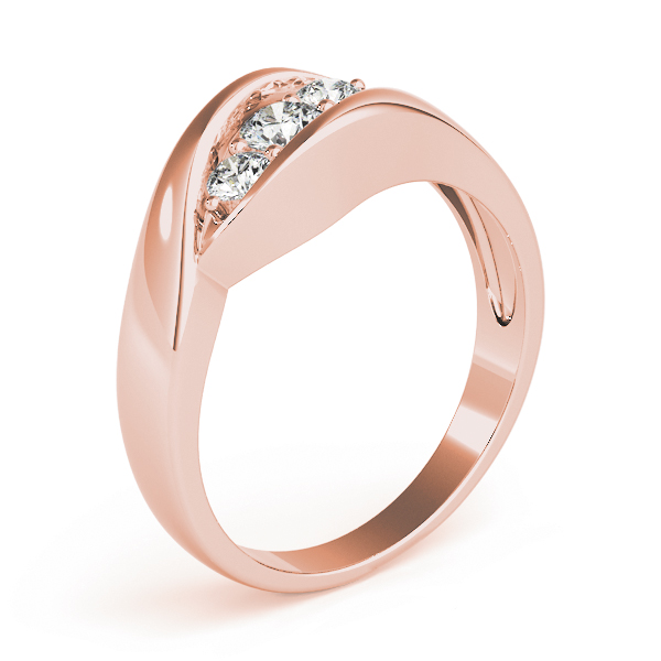 Trio Wave Diamond Wedding Ring in Rose Gold