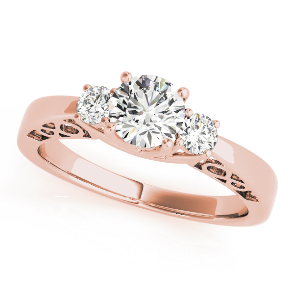 Three Stone Diamond Engagement Ring, Infinity Filigree Design in Rose Gold