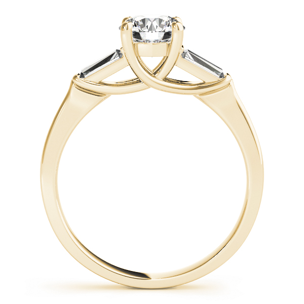 Classic Three Stone Trellis Baguette Diamond Engagement Ring in Yellow Gold