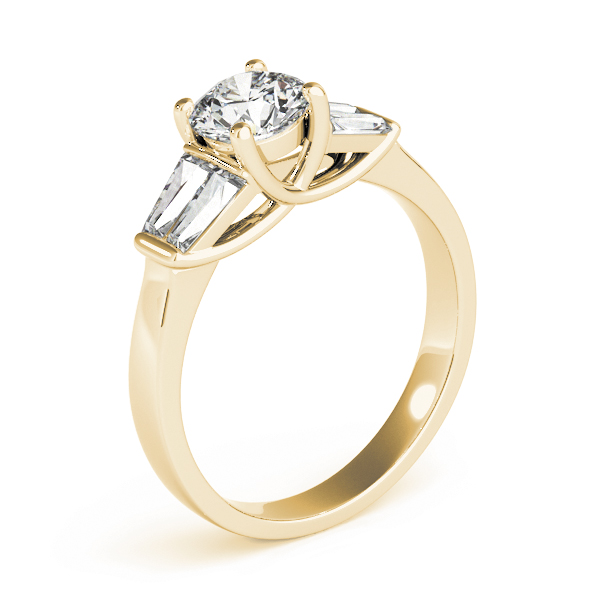 Tapered Baguette Diamond Engagement Ring in Yellow Gold
