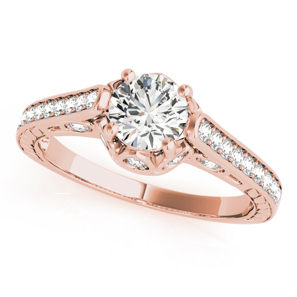Vintage Cathedral Diamond Engagement Ring, Engraved Band in Rose Gold