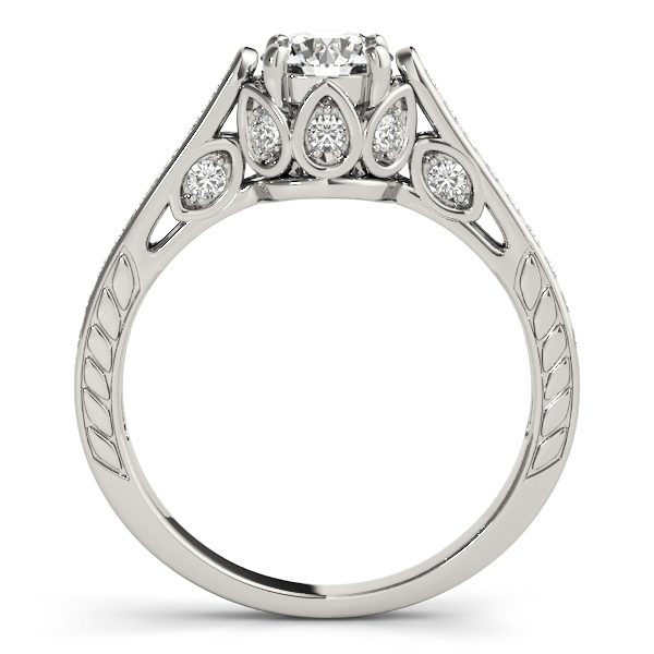 Vintage Cathedral Diamond Engagement Ring, Engraved Band in Platinum