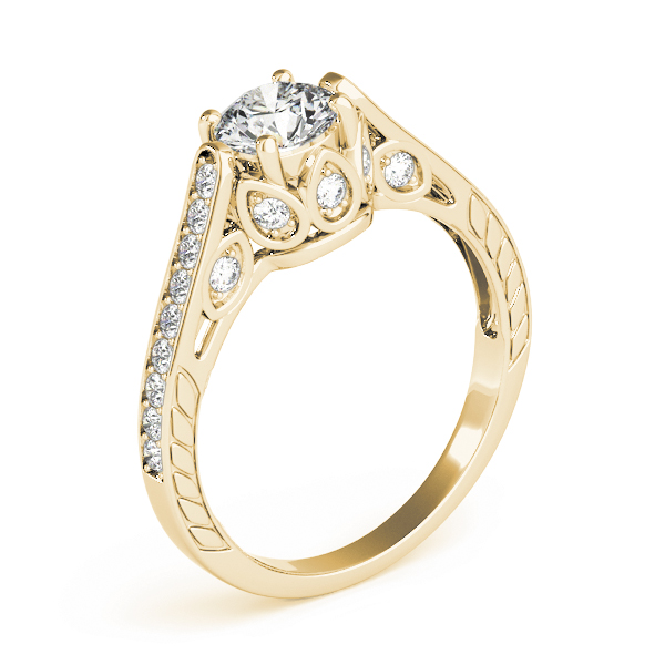 Vintage Cathedral Diamond Engagement Ring, Engraved Band in Yellow Gold