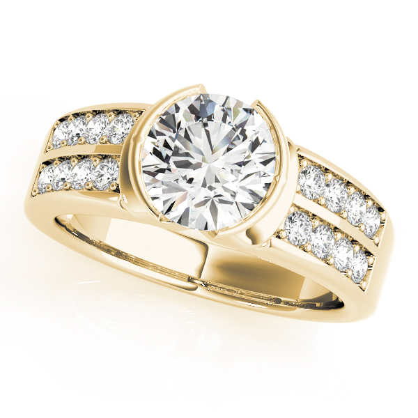 Semi Bezel Double Row Diamond Engagement Ring in Yellow Gold
