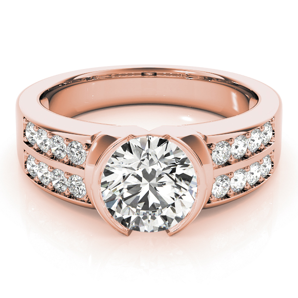 Semi Bezel Double Row Diamond Engagement Ring in Rose Gold