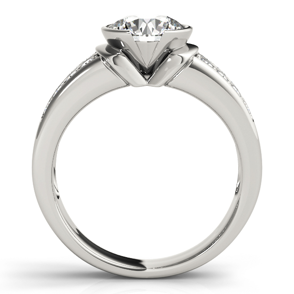 Semi Bezel Double Row Diamond Engagement Ring