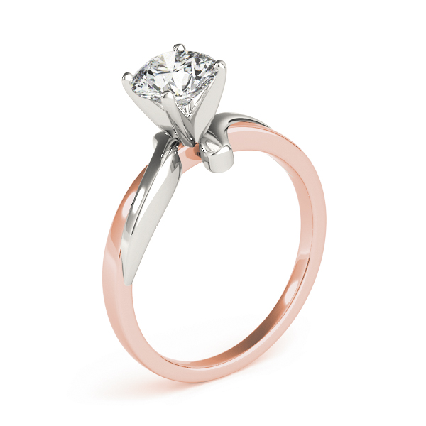 Twisted Solitaire Engagement Ring in White & Rose Gold