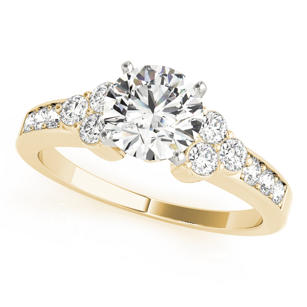 Pave Set Diamond Engagement Ring, Trio in Yellow Gold