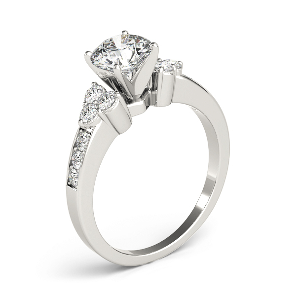 Pave Set Diamond Engagement Ring, Trio