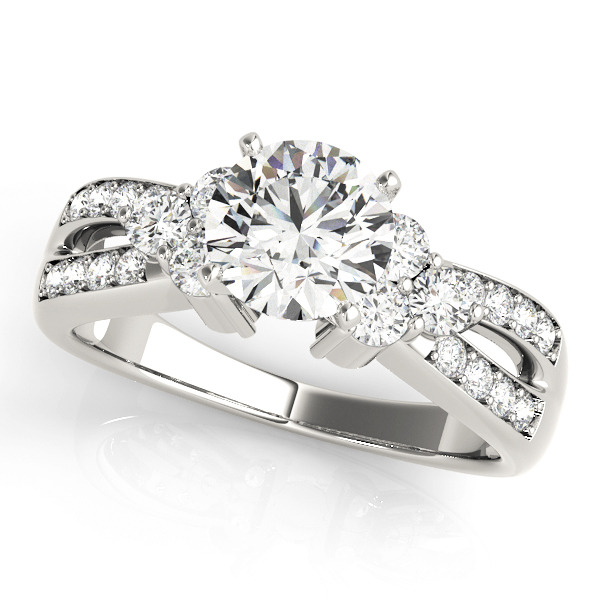 Trio Diamond Engagement Ring, Split Band