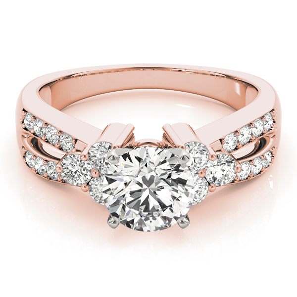 Trio Diamond Engagement Ring, Split Band in Rose Gold