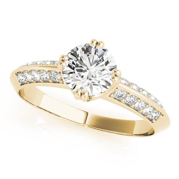 Knife Edge Petite Diamond Engagement Ring in Yellow Gold