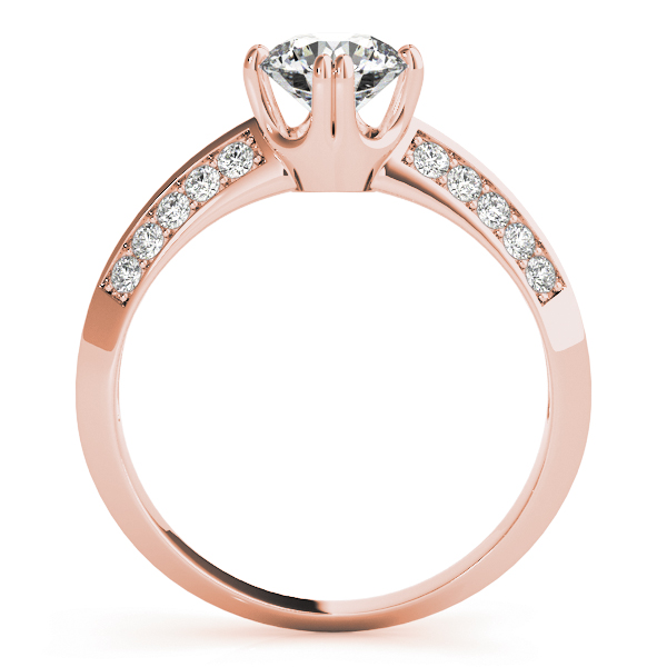 Knife Edge Petite Diamond Engagement Ring in Rose Gold