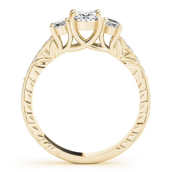 Three Stone Vintage Oval Diamond Engagement Ring, Anniversary Ring in Yellow Gold