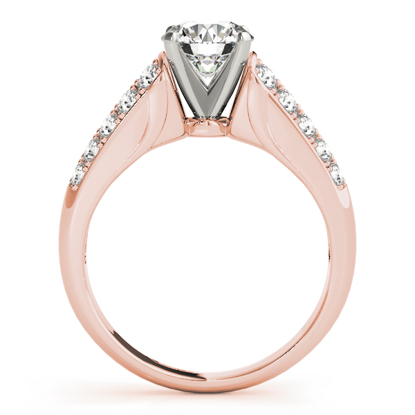 Double Row Cathedral Diamond Engagement Ring in Rose Gold