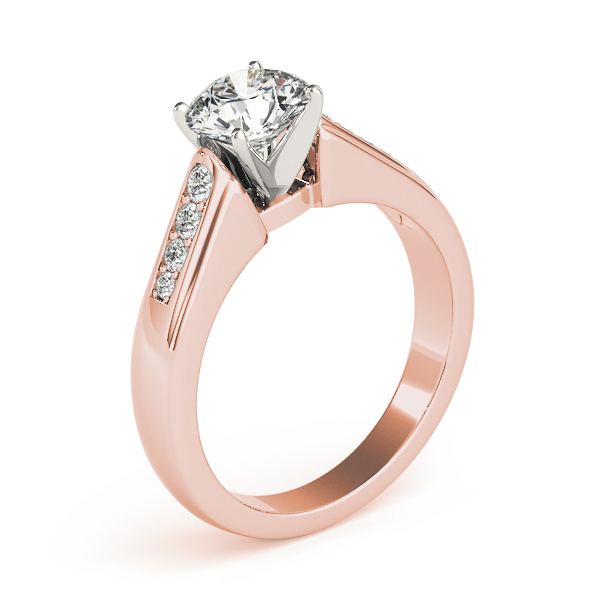 Classic Petite Pave Diamond Engagement Ring in Rose Gold